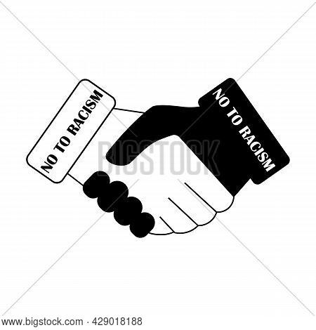 Stop, No To Racism Sign With Inscription, Text And Handshake. Vector Icon. Partnership, Trust, Frien