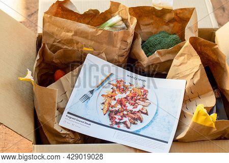Sydney, Australia 2021-07-25 Open Marley Spoon Cardbord Box With Meal Kits . Australian Subscription