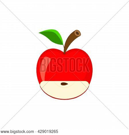 Red Whole Apple And Quarter Apple With A Seed Inside. Apple Icon With A Slice, Branch And Leaf. Vect