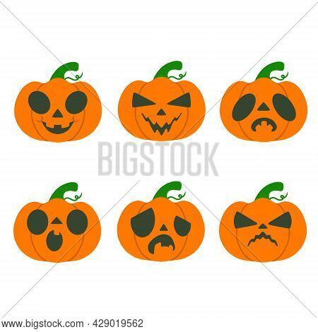Collection Of Six Helloween Pumpkins With Different Emotions. Set Isolated On White Background. Vect