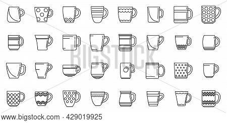 Mug Icons Set Outline Vector. Coffee Cup. Steam Hot Mug