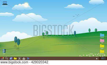 Desktop Snapshot, Screensaver. Paperhanging With A Calm Landscape. Vector Illustration.