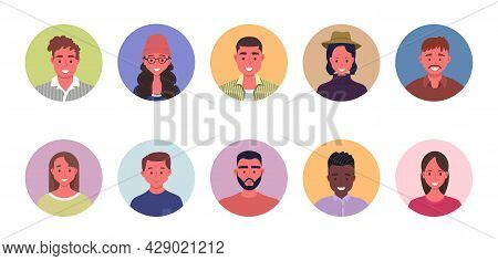 People Avatar Bundle Set. User Portraits In Circles. Different Human Face Icons. Male And Female Cha