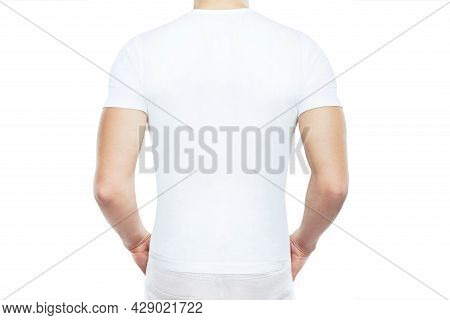White T Shirt Mock Up. People Concept Close Up Of Young Man In Blank White T-shirt Back View, Isolat