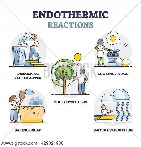 Endothermic Reactions List With External Energy Outline Collection Set. Educational Labeled Examples