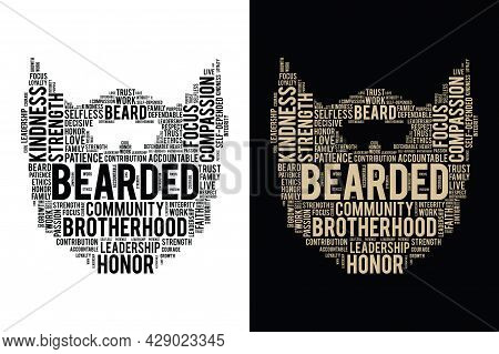 Typography Style Bearded T-shirt Design - Brotherhood - 2 Different Color Print Ready Vector File