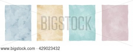 Set Of Watercolor Vector Backgrounds, Pastel Colored Aquarelle Textures