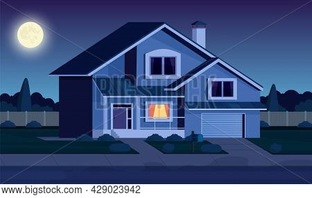 Street In Suburb District With Residential House At Night. Cartoon Landscape With Suburban Cottage.