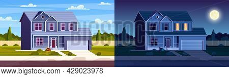 Day And Night House. Street In Suburb District With Residential House. Cartoon Landscape With Suburb