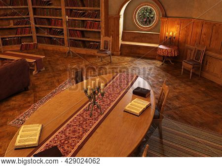3d Rendering Of An Old Library Interior