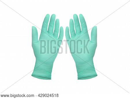 Medical Nitrile Gloves. Two Green Surgical Gloves Isolated On White Background With Hands. Rubber Gl