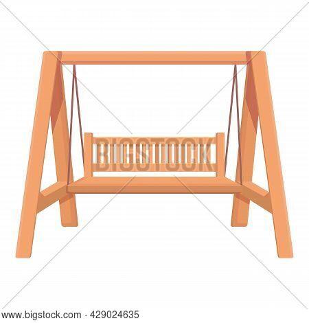 Outdoor Swing Icon Cartoon Vector. Garden Bench. Wooden Swing