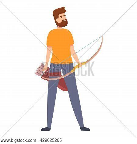 Professional Archer Icon Cartoon Vector. Archery Winner. Sport Game