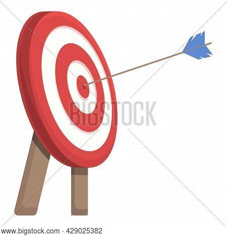 Bullseye Shot Icon Cartoon Vector. Archery Target. Aim Goal