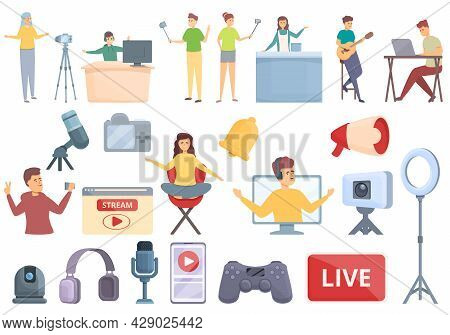 Vlogger Streaming Icons Set Cartoon Vector. Live Game. Computer Chat