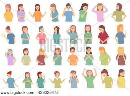Menopause Icons Set Cartoon Vector. Female Fertility. Age Cycle