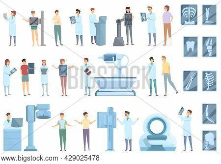 X-ray Examination Icons Set Cartoon Vector. Hospital Room. Medical Examination