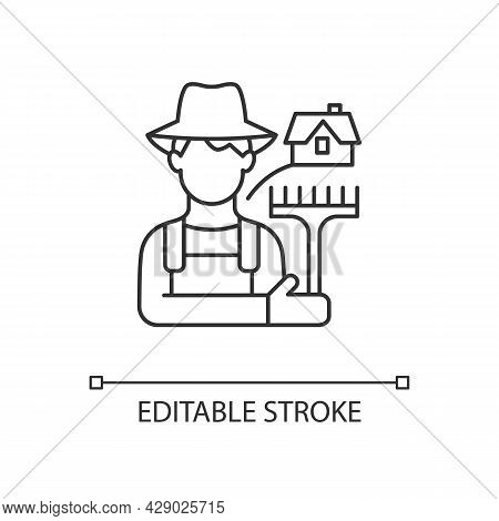 Rural Workers Linear Icon. Man Stands Near Barn. Labourer With Tool. Rural Area Life. Thin Line Cust