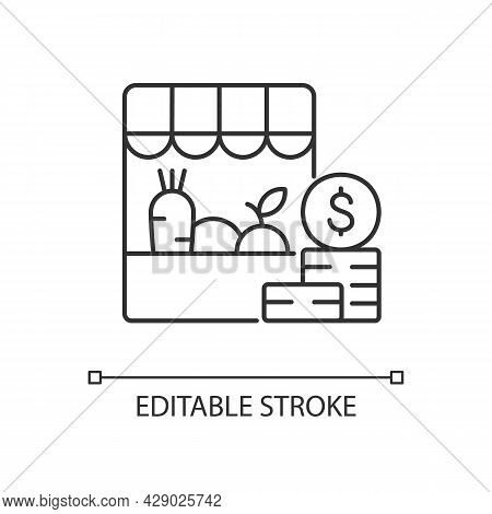 Agricultural Trade Linear Icon. Farm Shop. Eco Market Consumer. Organic Goods And Commodities. Thin
