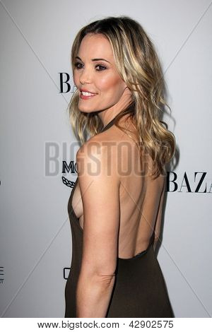 LOS ANGELES - FEB 28:  Leslie Bibb arrives at the Harper's Bazaar Celebrates The Launch Of The Dukes of Melrose Event at the Sunset Tower on February 28, 2013 in West Hollywood, CA