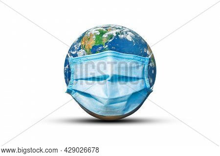 Ecology, Pollution And Environment Concept : Blue Earth Wear Protective Or Face Masks On White Backg