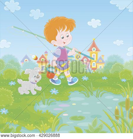 Cheerful Little Boy Fisherman Going Angling With His Fishing Rod And A Bucket, Together With A Merry