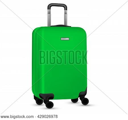 Travel Suitcase Isolated. Set Of Green Plastic Luggage Or Vacation Baggage Bag On White Background.
