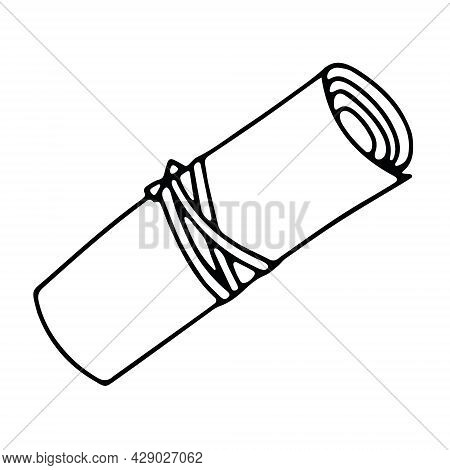 Scroll Tied With A Rope In Doodle Style. Hand Drawn Vector Illustration In Black Ink Isolated On Whi