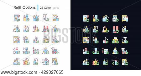 Refill Options Light And Dark Theme Rgb Color Icons Set. Eco Friendly Package. Reusable Products. Is