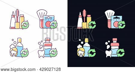 Reusable Options Light And Dark Theme Rgb Color Icons Set. Mascara Refill. Blush In Eco Friendly Pac