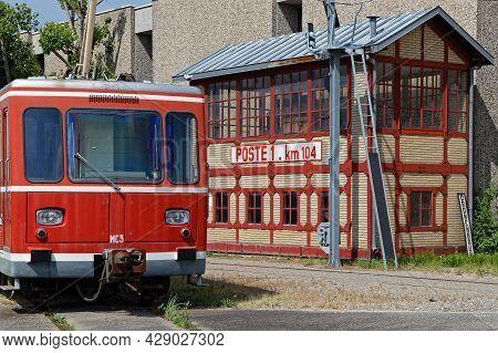 Mulhouse, France, June 26, 2021 : Old Underground Cabin An Old Station. La Cité Du Train (train City