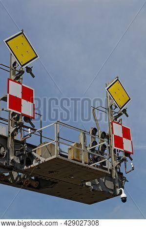 Mulhouse, France, June 26, 2021 : Railroad Signs. La Cité Du Train (train City), Formerly Named Fren