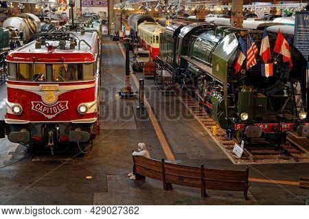 Mulhouse, France, June 26, 2021 : Headlight In Cité Du Train (train City), Formerly Named French Rai