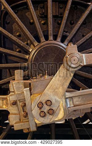 Mulhouse, France, June 26, 2021 : Detail Of A Weeel In Cité Du Train (train City), Formerly Named Fr