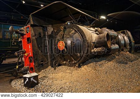 Mulhouse, France, June 26, 2021 : Wrecked Train In La Cité Du Train (train City), Formerly Named Fre