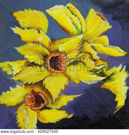 Daffodils Oil Painting Yellow Flowers, Blooming In Spring With Delicate Petals On Stems Growing In G