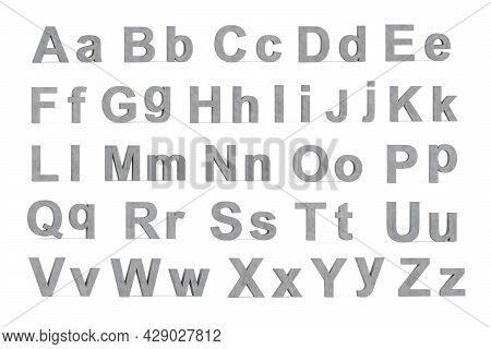 Concrete 3d Letters - Three Dimensional Uppercase And Lowercase Letters Covered With Concrete Textur