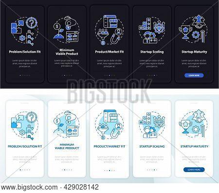 Entrepreneurship Onboarding Mobile App Page Screen. Business Launch Walkthrough 5 Steps Graphic Inst