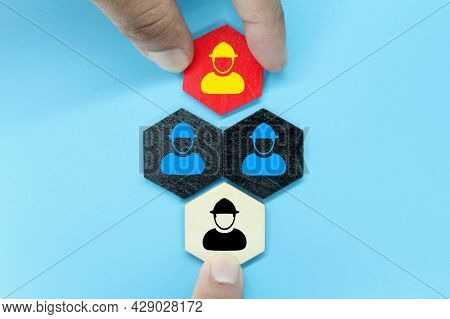 Hexagon With Icons Of Laid Off Workers, Permanent Employees And New Employees