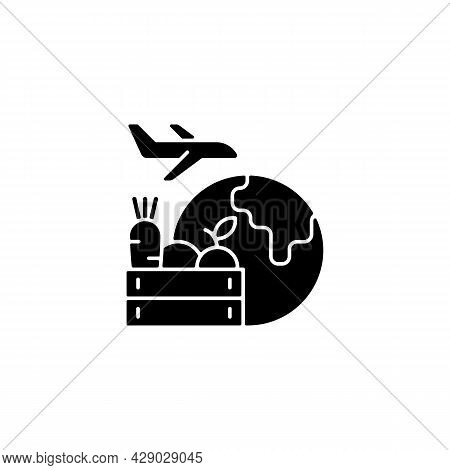 Agricultural Products Export Black Glyph Icon. Agricultural Goods Delivering. Shipping Commodities.