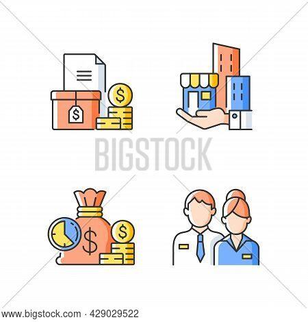Building Ownership Rgb Color Icons Set. Asset Management. Account Receivable. Short-term Deposit. Bu