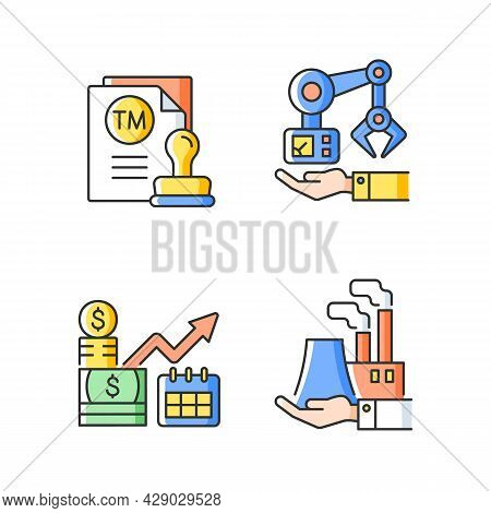 Long Term Business Investments Rgb Color Icons Set. Machinery Owning And Plants Ownership. Mechanica