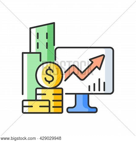 Company Stock Rgb Color Icon. Public Market. Capital Gain. Income Increment Monitoring. Trading Exch