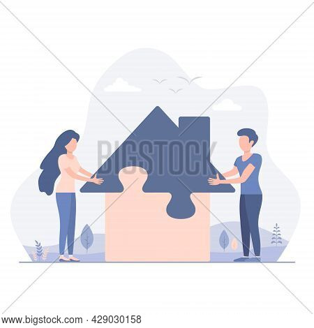 Man And Woman Couple Build A House From Puzzles, Vector Flat Design Illustration.