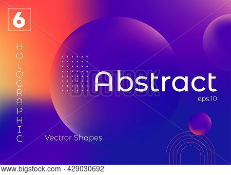 Colorful Abstract Gradient Blurs. Trendy Vibrant Fluid Colors. Design Element With Copy Space For Te