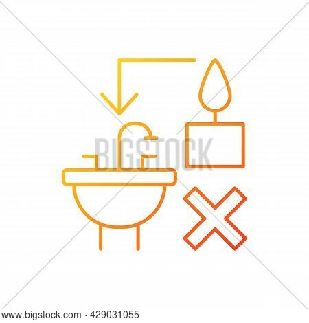 Never Throw Hot Wax Down Sink Gradient Linear Vector Manual Label Icon. Clogging Sink. Thin Line Col