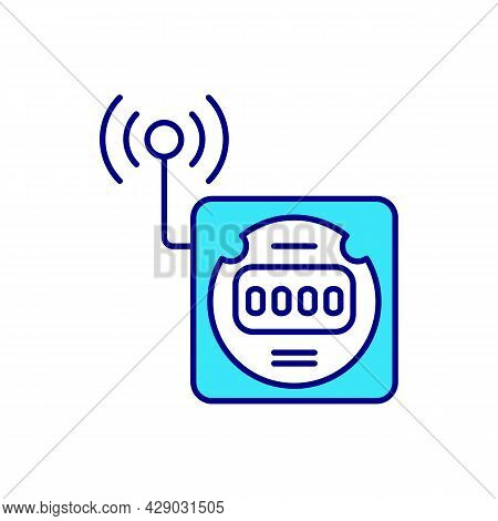 Smart Grid Meter Rgb Color Icon. Consumption Of Electricity. Energy And Power Meter System. Smart Ut