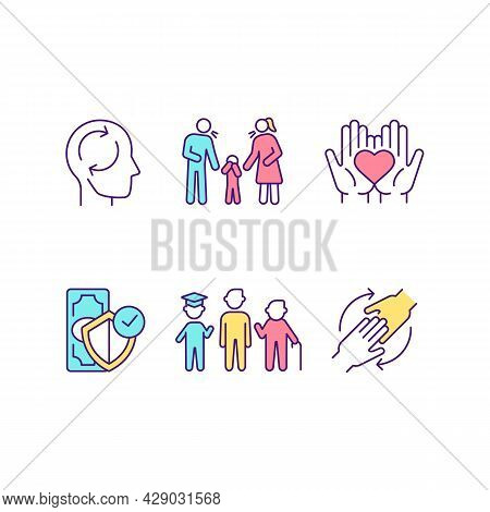 Stages Of Maturity Rgb Color Icons Set. Adult Psychology. Changing Views. Parenting. Love Sharing. F