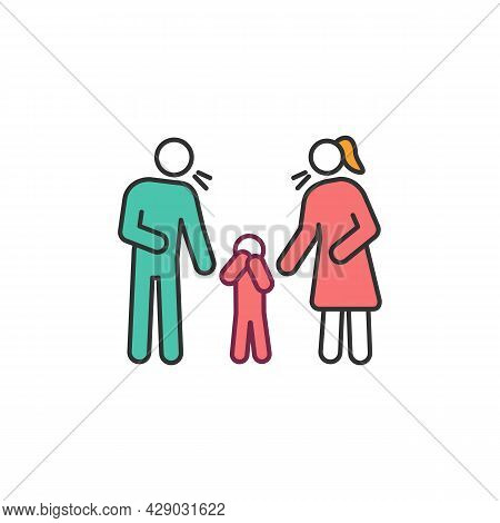 Parenting Problems Rgb Color Icon. Parents Swear And Child Suffer. Marriage Crisis. Adulthood Psycho