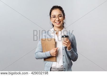 Education, Teachers, University And Schools Concept. Good-looking Smiling Asian Tutor, Female With B